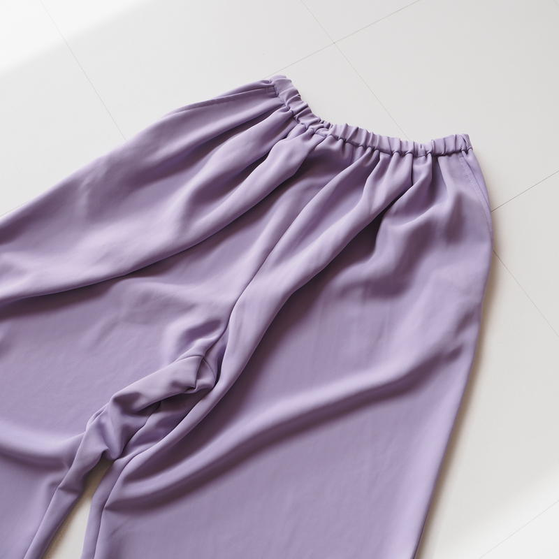 """Graphpaper """"Satin Wide Gather Pants """" Purple"""