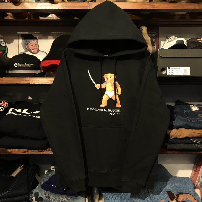 "【ラス1】RUGGED ""POLO JINGI"" sweat hoodie (Black/10.0oz)"