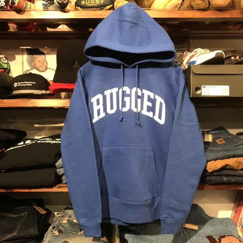 """【ラス1】RUGGED """"ARCH LOGO"""" sweat hoodie (Blue/10.0oz)"""