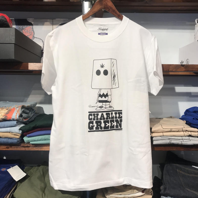 "【残り僅か】RUGGED ""Charlie GREEN"" tee (White)"