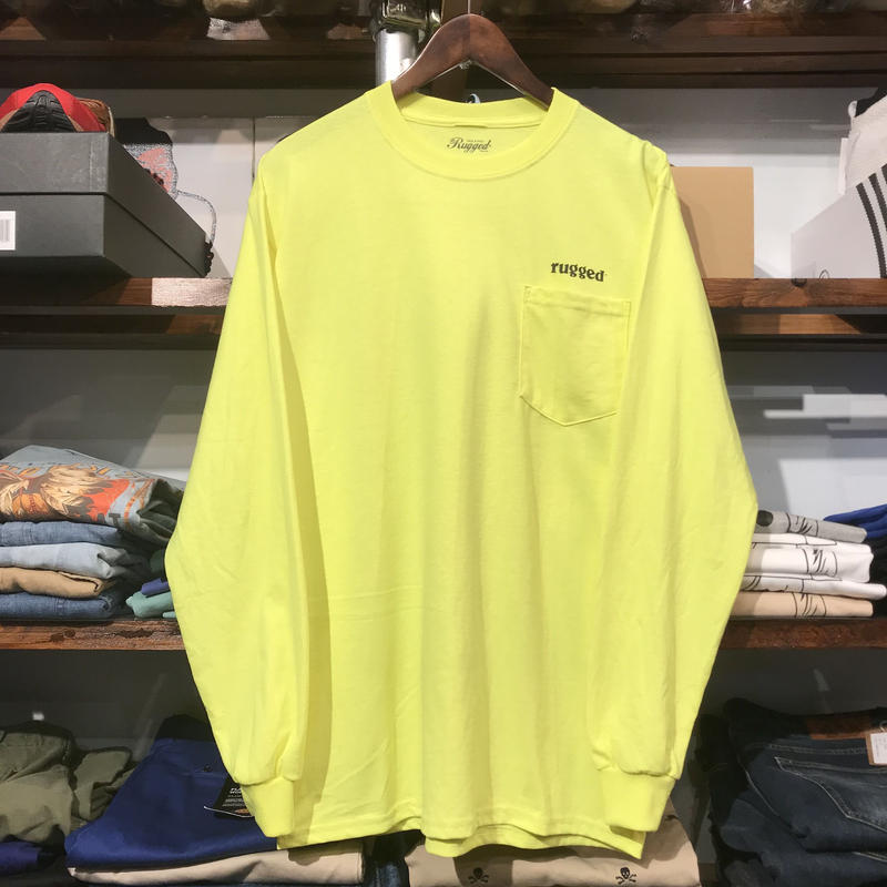 "【残り僅か】RUGGED ""rugged®︎"" pocket L/S tee (Light Yellow)"