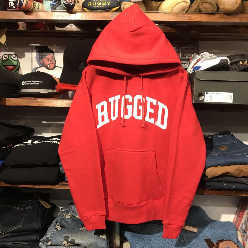 """【残り僅か】RUGGED """"ARCH LOGO"""" sweat hoodie (Red/10.0oz)"""