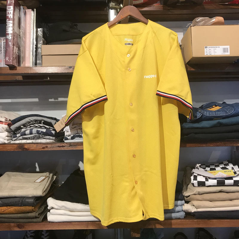 "【ラス1】RUGGED ""ARCH LOGO"" mesh baseball shirt (Yellow)"