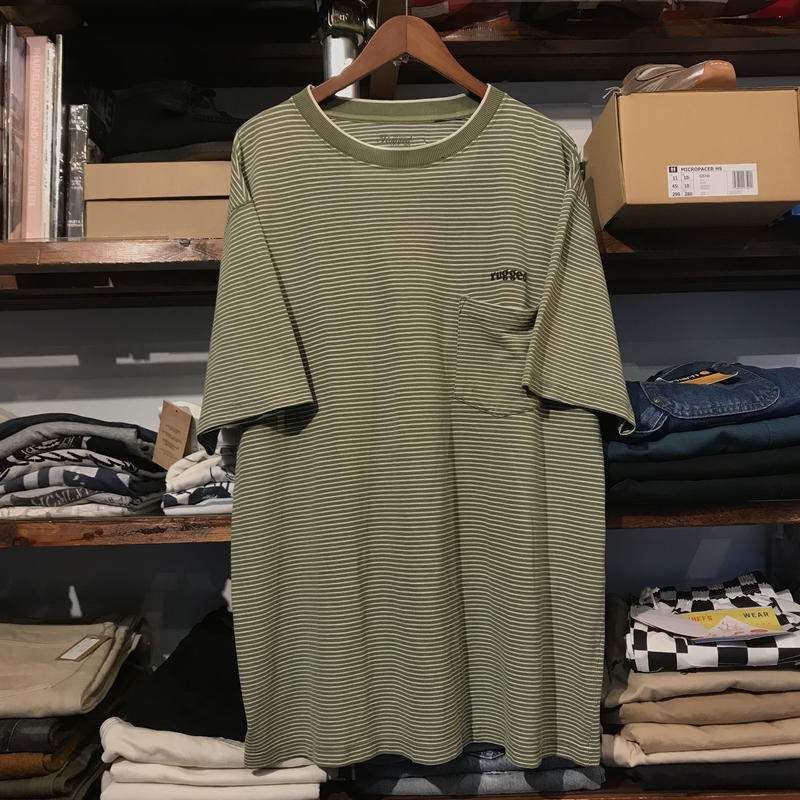 "RUGGED on vintage ""rugged®︎""Pencil Border pocket tee (Green)"