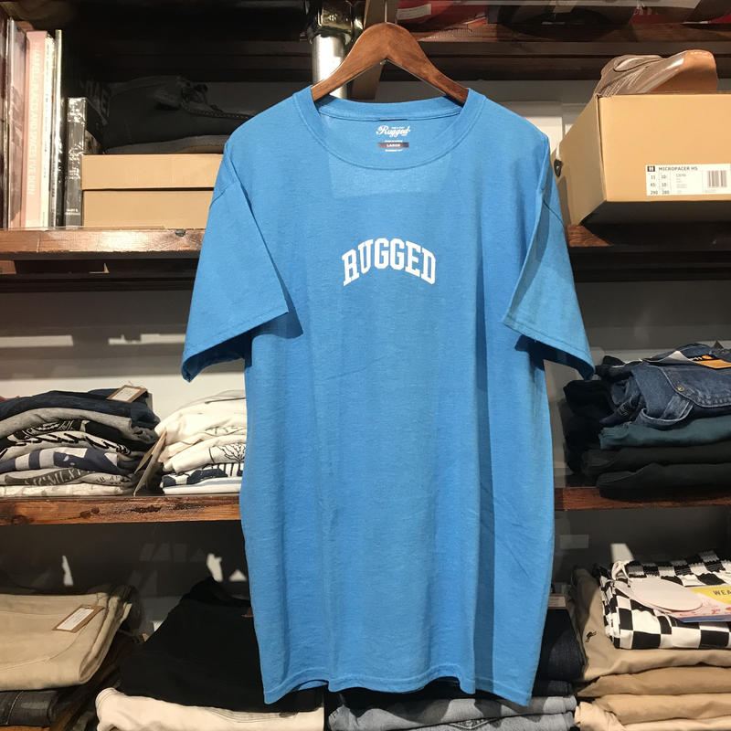 "RUGGED on vintage ""SMALL ARCH"" tee (Light Blue)"