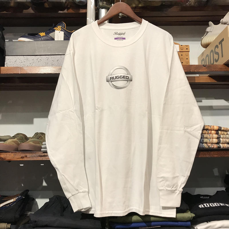 "RUGGED ""GONE"" L/S tee  (White/Silver)"
