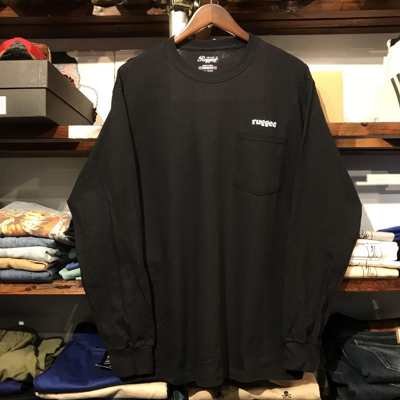 "【残り僅か】RUGGED ""rugged®︎"" pocket L/S tee (Black)"