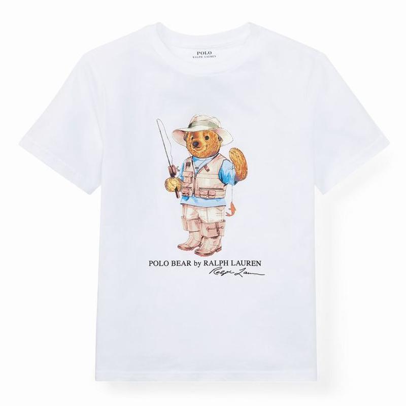 """【ラス1】POLO RALPH LAUREN """"Fishing Bear"""" kids tee (White)"""