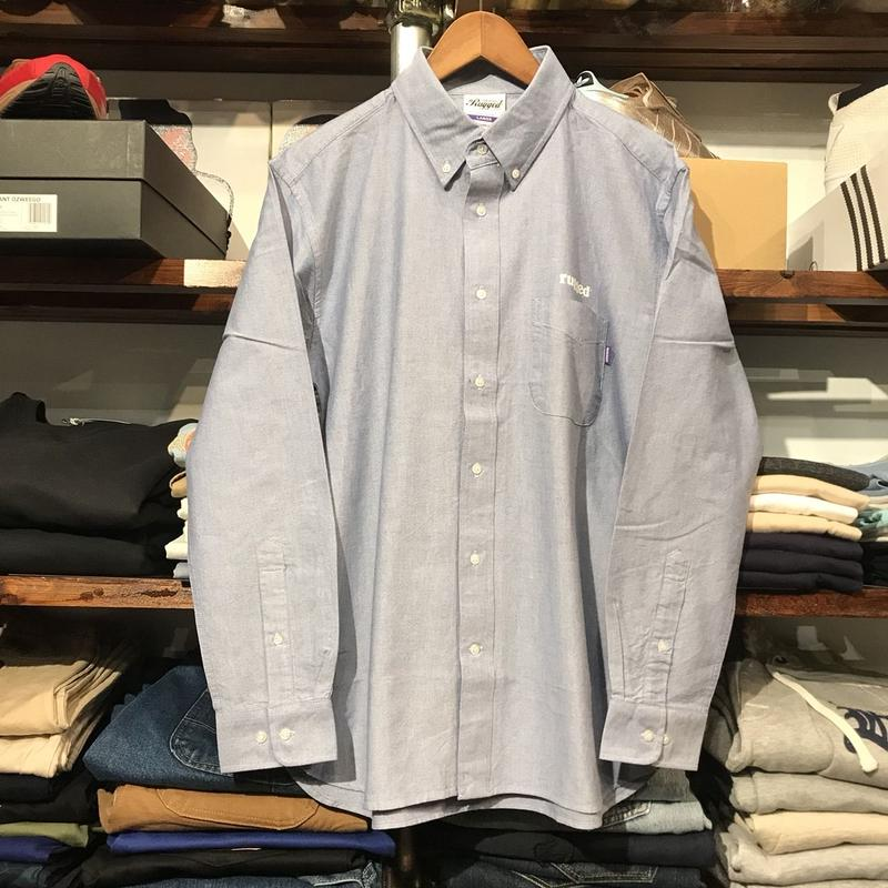 "【ラス1】RUGGED ""Real/Fake"" oxford shirt(Blue)"