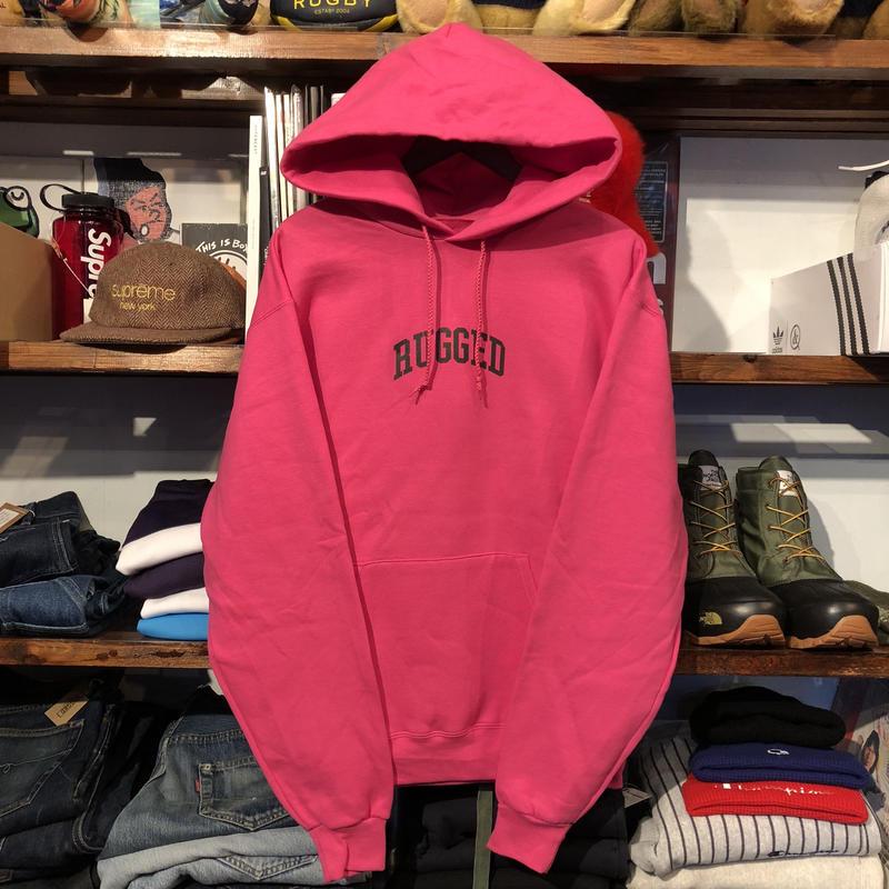 """【残り僅か】RUGGED on Champion """"SMALL ARCH""""  sweat hoodie (Pink)"""