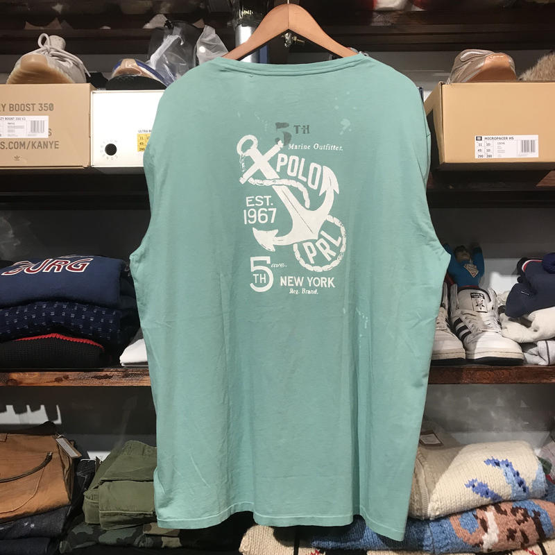 【ラス1】POLO RALPH LAUREN anchor poket L/S tee (Lime Green)