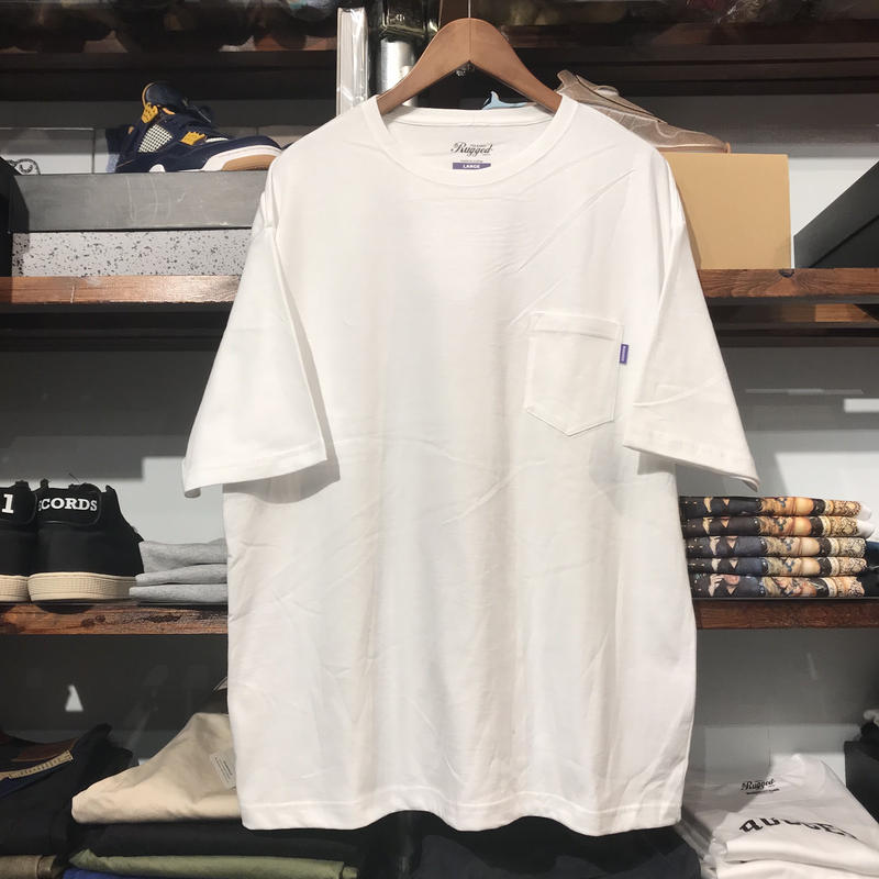 【残り僅か】RUGGED big size pocket tee (White/5.6oz)