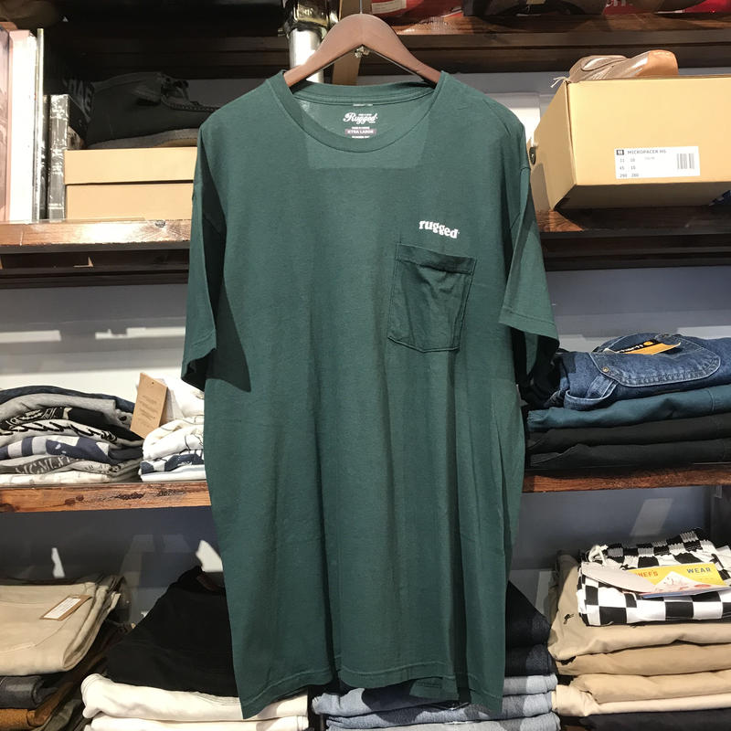 """RUGGED on vintage """"ARCH LOGO"""" pocket tee (Moss Green)"""