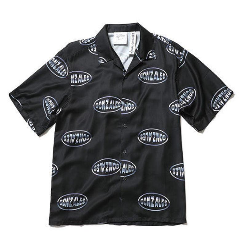 【ラス1】Mark Gonzales logo open collar shirt (Black)
