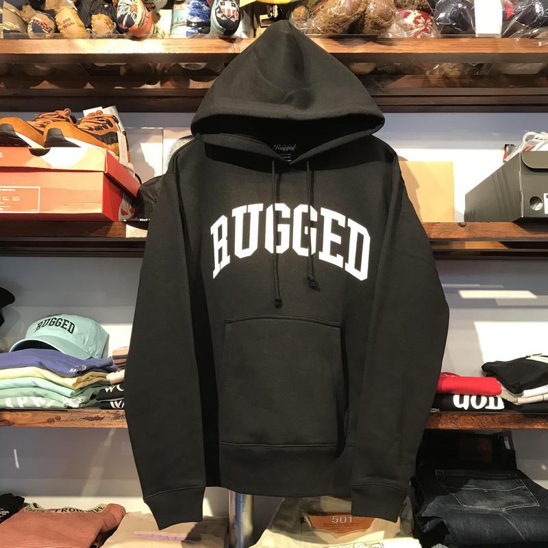 """【ラス1】RUGGED """"ARCH LOGO"""" sweat hoodie (Black/10.0oz)"""