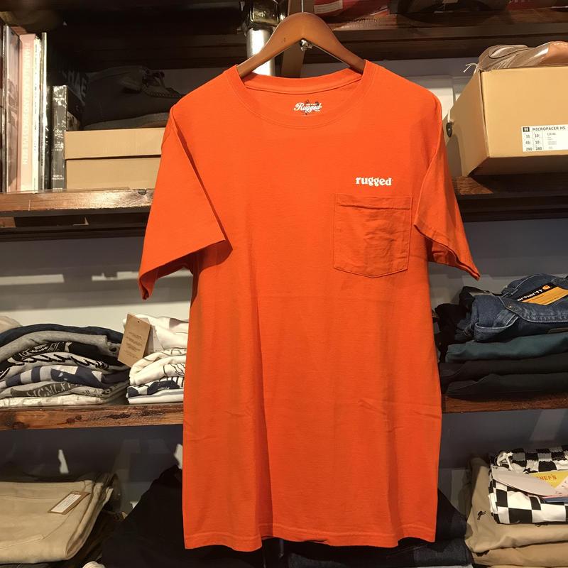 "RUGGED on vintage ""ARCH LOGO"" pocket tee (Blood Orange)"