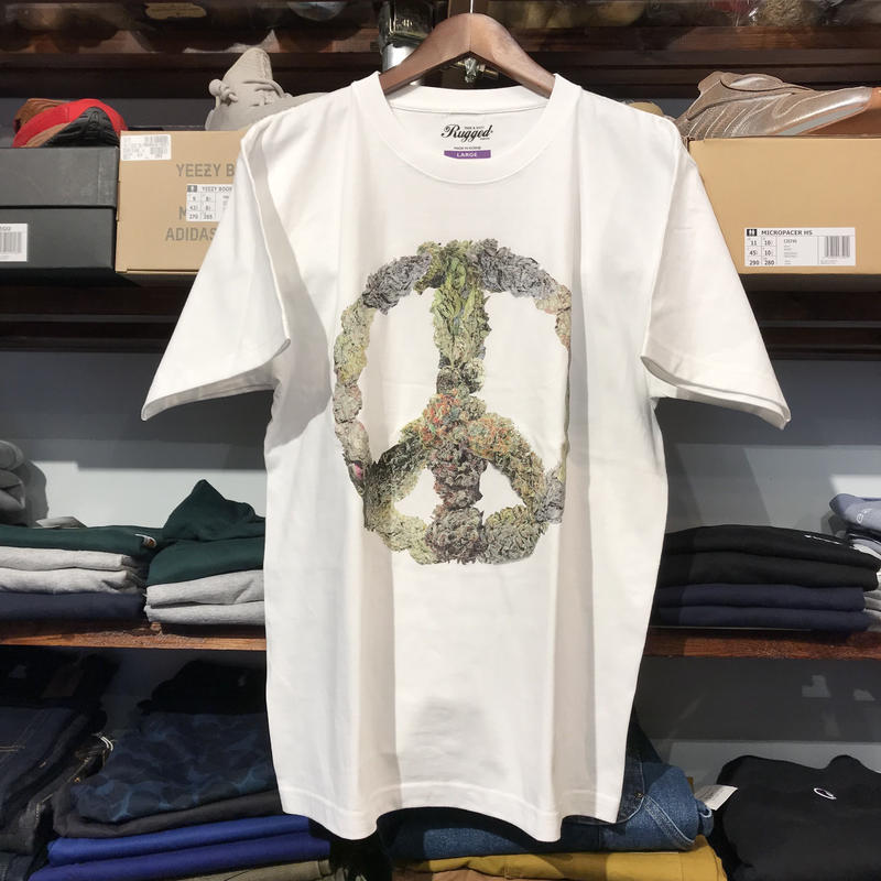 "RUGGED ""PEACE BUDS"" tee (White)"