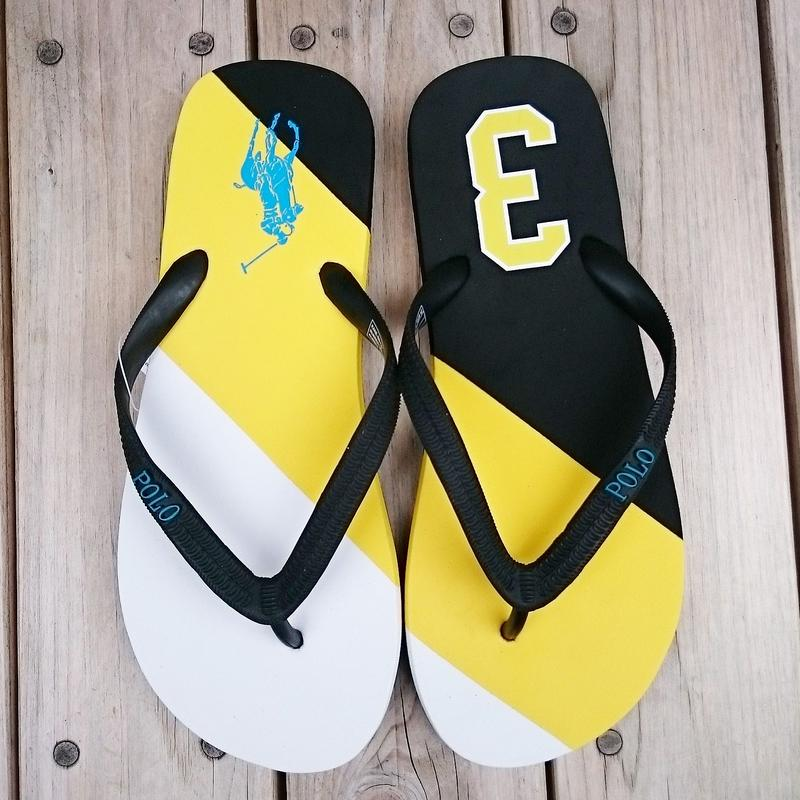 "【ラス1】POLO RALPH LAUREN ""Big pony ""Beach sandal (White/Yellow/Black)"