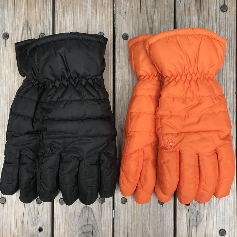 【残り僅か】POLO RALPH LAUREN HYBRID PUFFER GLOVES (Black/Orange)