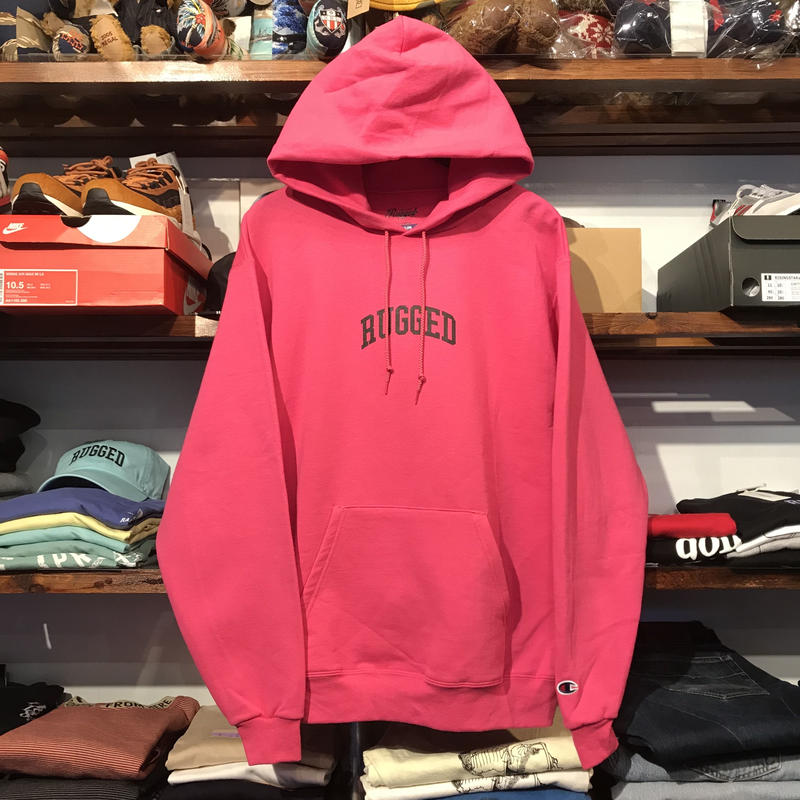"【ラス1】RUGGED on Champion ECO ""SMALL ARCH"" sweat hoodie (Pink)"
