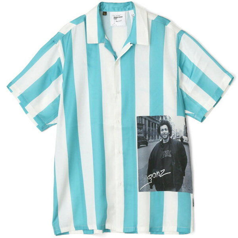 【ラス1】Mark Gonzales stripe print open collar shirt (Emerald)