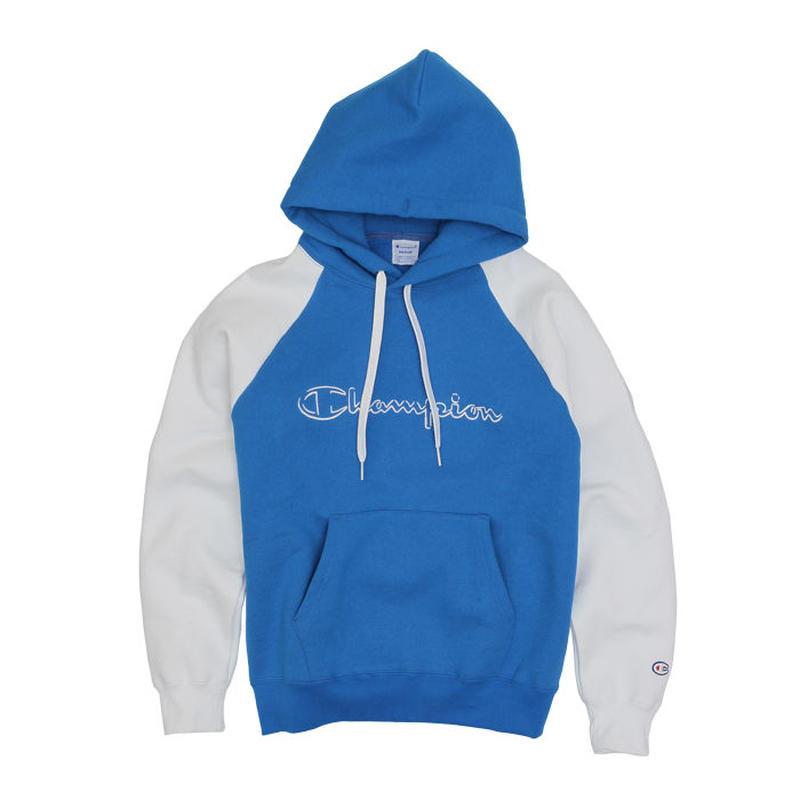 【ラス1】Champion logo raglan hoodie (Blue)