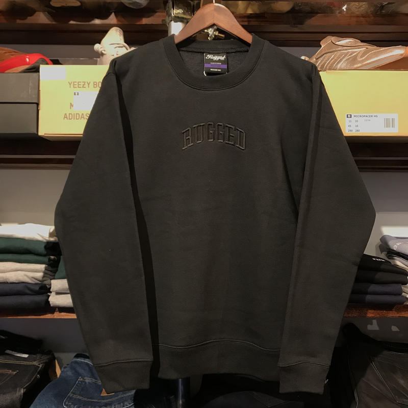 "【残り僅か】RUGGED ""ARCH LOGO"" sweat (Black × Black/10.0oz)"