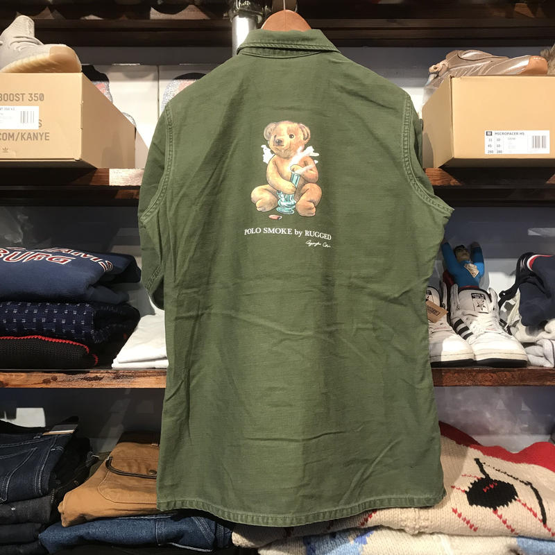 """RUGGED on Vintage """"POLO SMOKE"""" military shirt (S)③"""