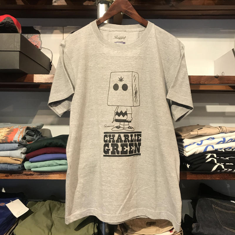 "【ラス1】RUGGED ""Charlie GREEN""  tee (Gray)"