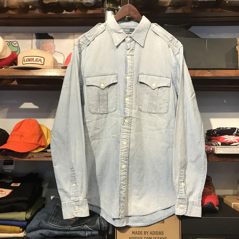 POLO RALPH LAUREN epaulet pocket denim shirt (L)