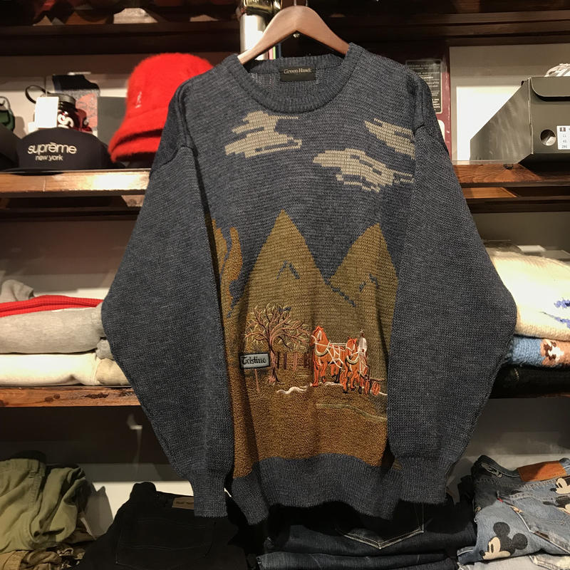 GreenHawk winter horse knit (L)