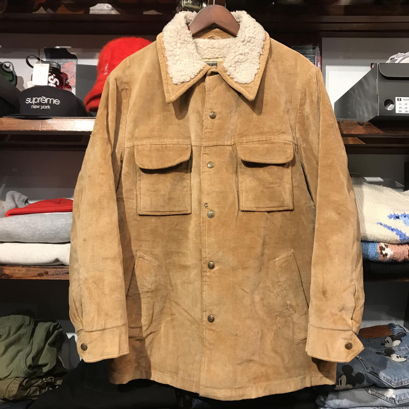WILLIAM BARRY corduroy collar boa jacket (Brown)