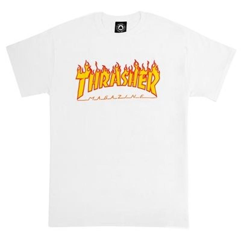 THRASHER MAGAZINE FLAME LOGO T SHIRTS - WHITE