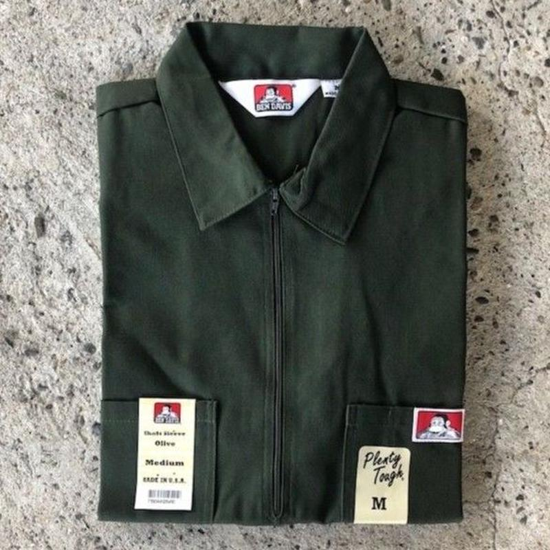 BEN DAVIS 1/2 ZIP WORK SHIRT - OLIVE