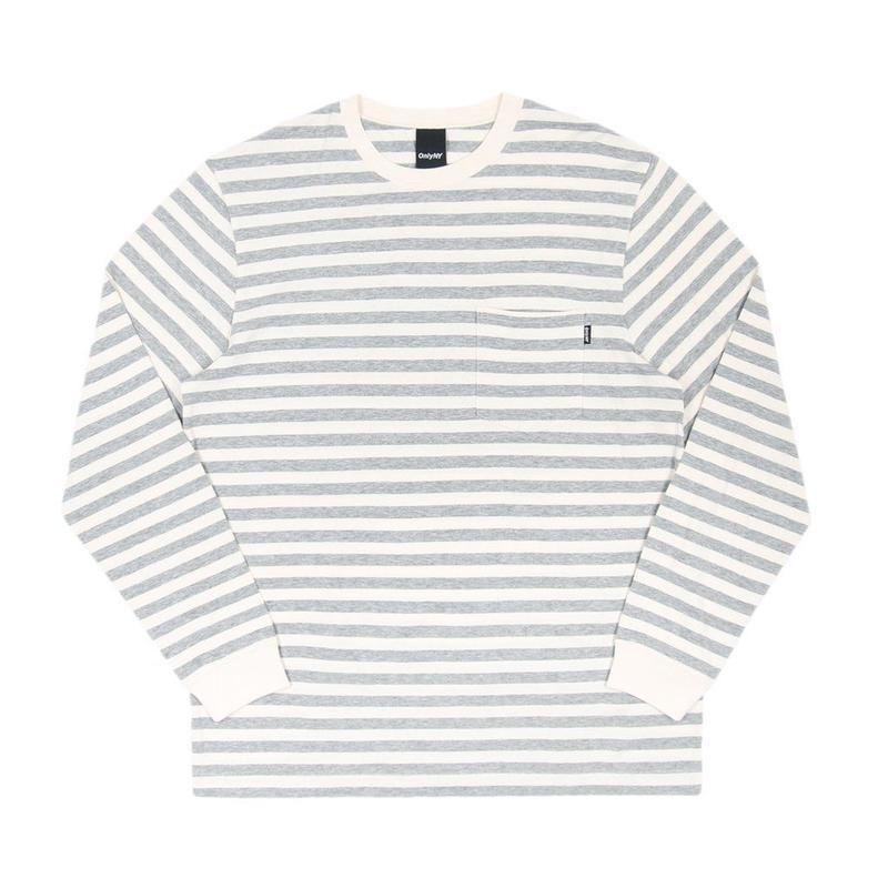 ONLY NY Nautical Stripe Pocket L/S T-Shirt - Heather Grey