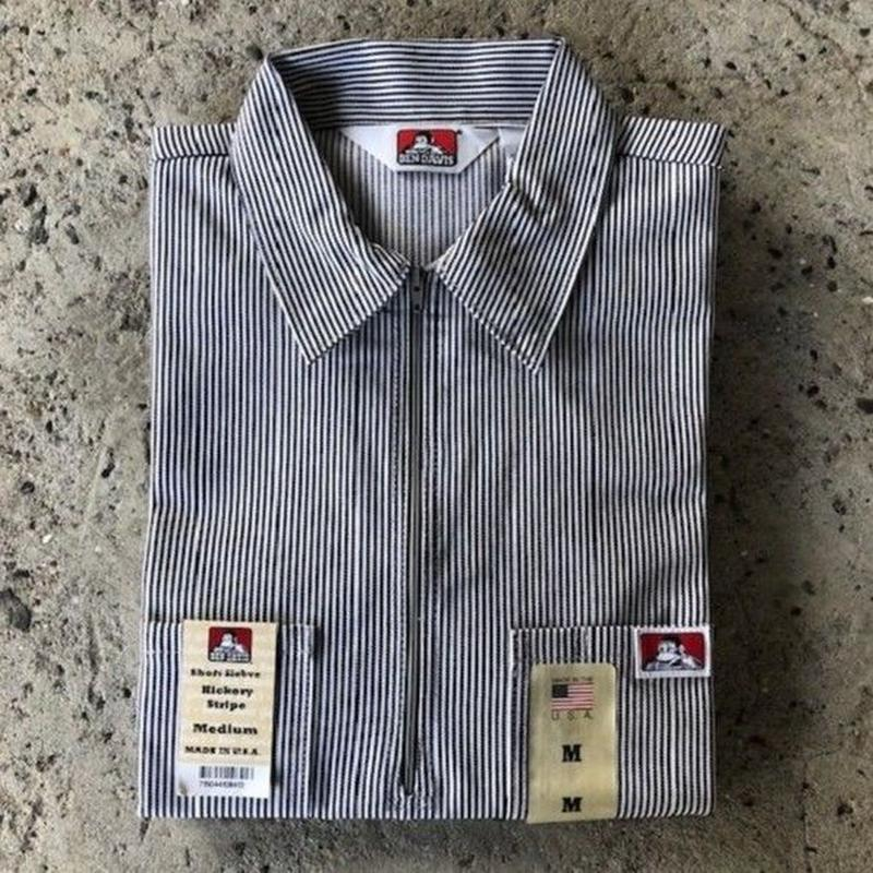 BEN DAVIS 1/2 ZIP WORK SHIRT - HICKORY STRIPE