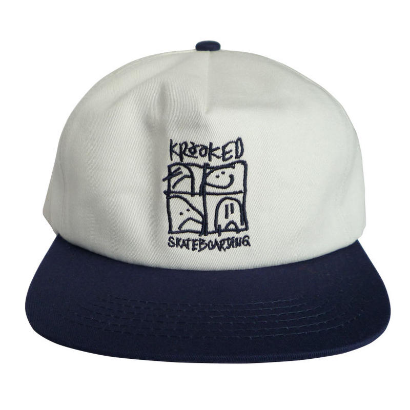KROOKED  KD ULTRA SNAPBACK HAT - CREAM/NAVY
