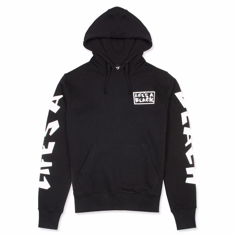 LIFE'S A BEACH LAB Logo Hood-BLACK
