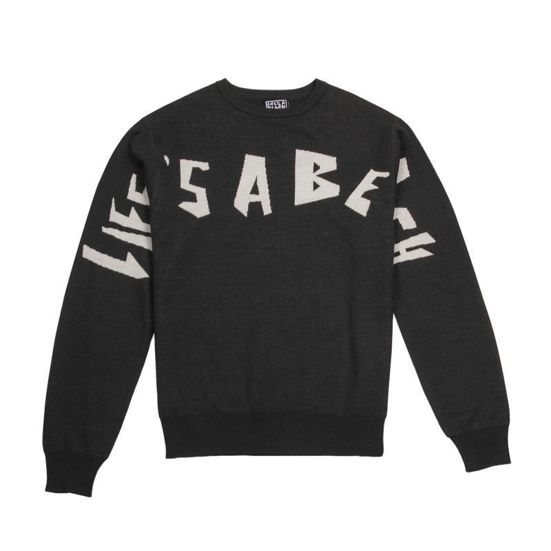 LIFE'S A BEACH LAB LAB Strip Logo Crew-Black