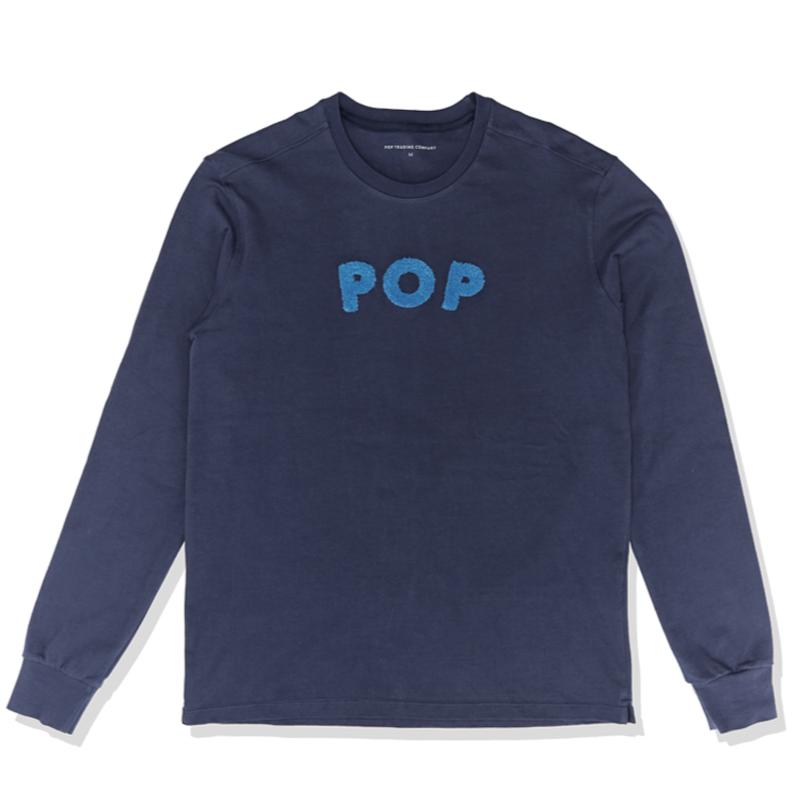 POP TRADING POP UNI LONGSLEEVE T-SHIRT NAVY