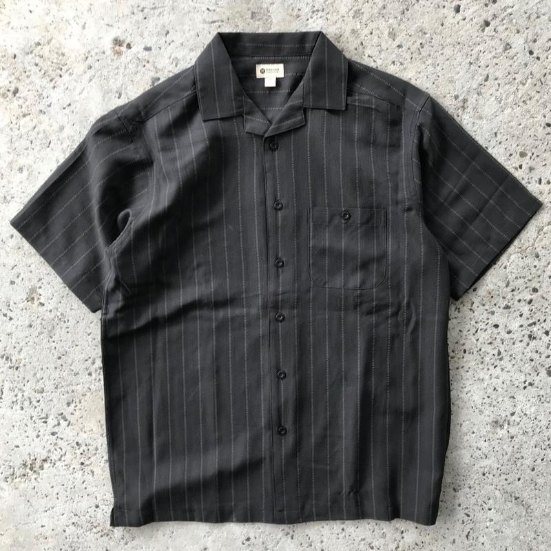 HAGGAR S/S SHIRT - BLACK STRIPE