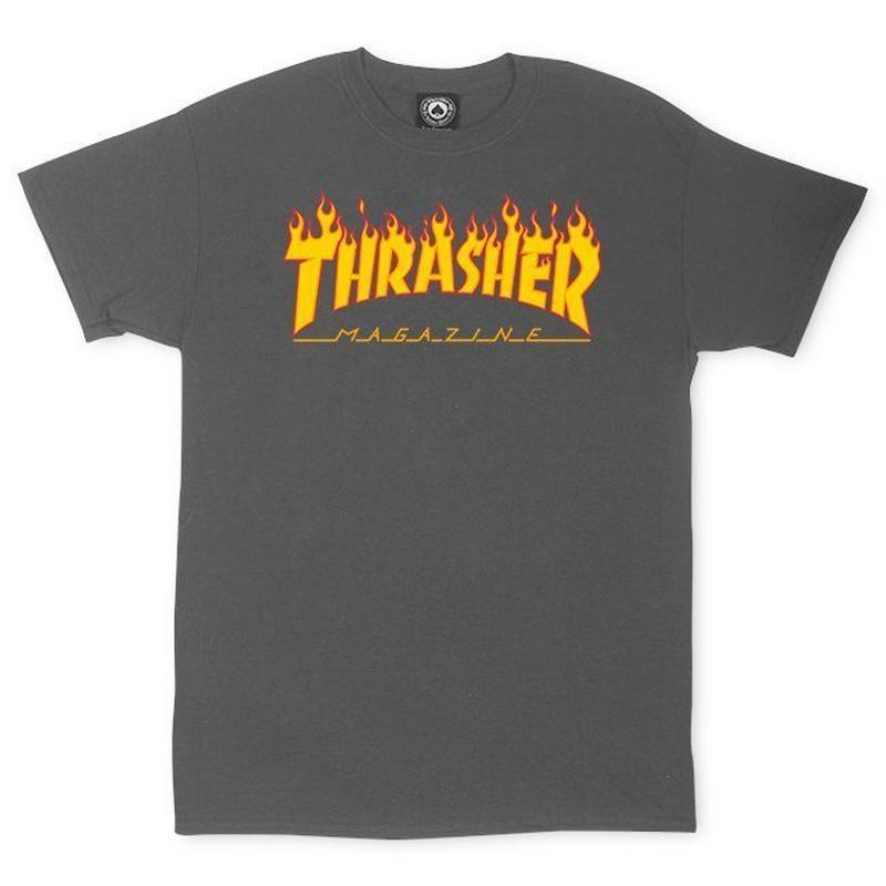 THRASHER MAGAZINE FLAME LOGO T SHIRTS - CHARCOAL