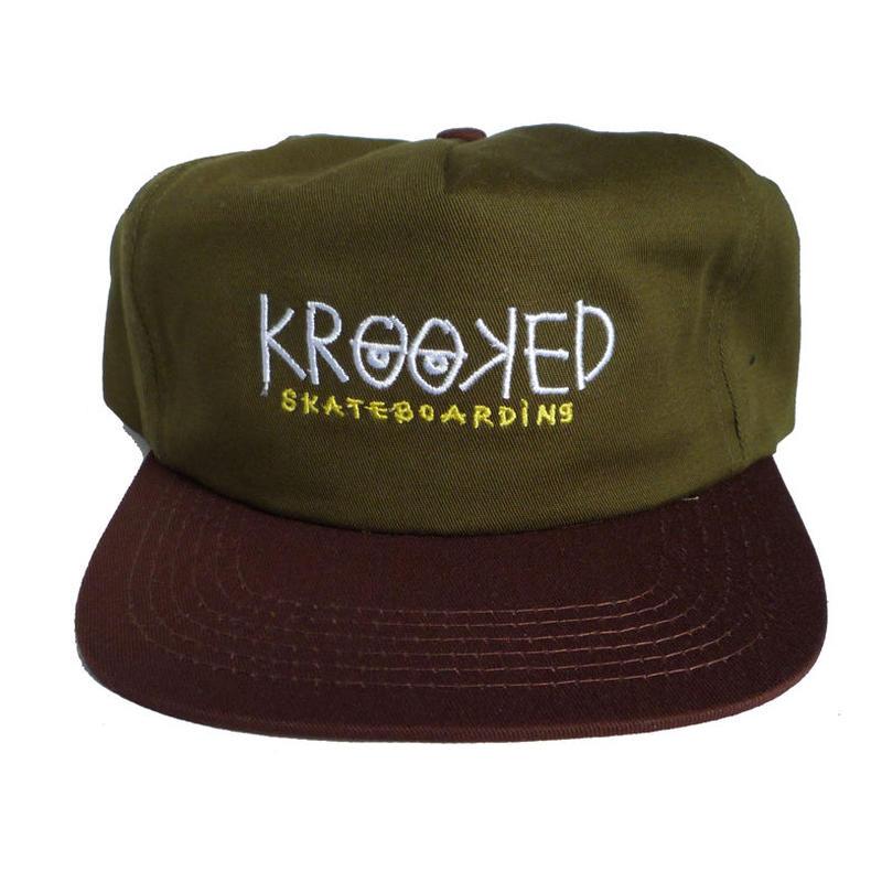KROOKED  KROOKED EYES SNAPBACK HAT - OLIVE/BROWN