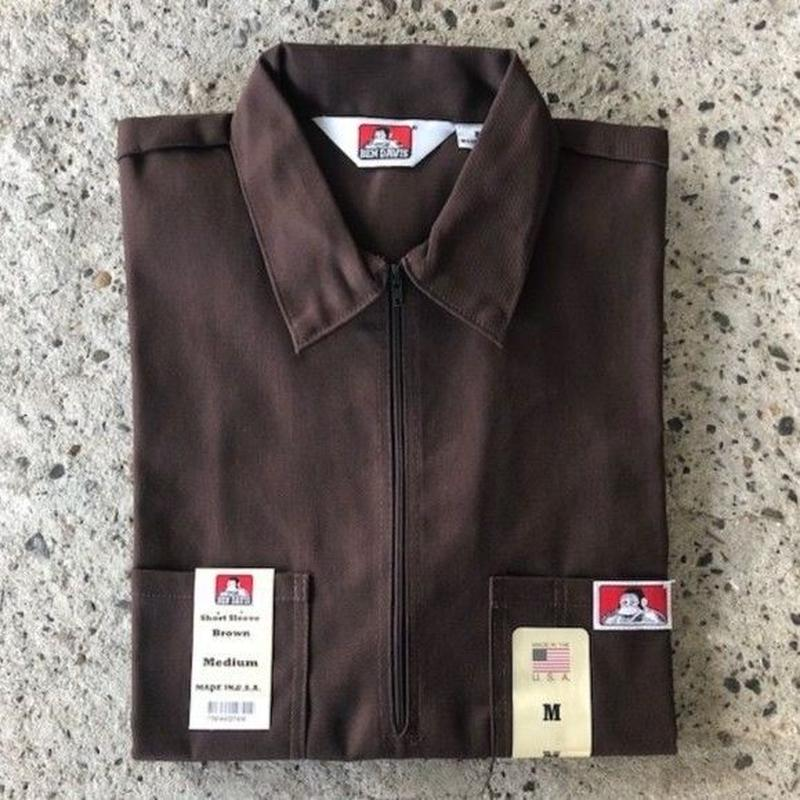 BEN DAVIS 1/2 ZIP WORK SHIRT - BROWN