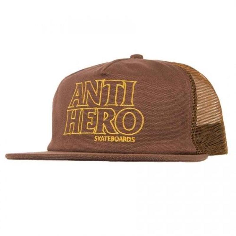 ANTI HERO BLACK HERO OUT LINE TRUCKER HAT - BROWN