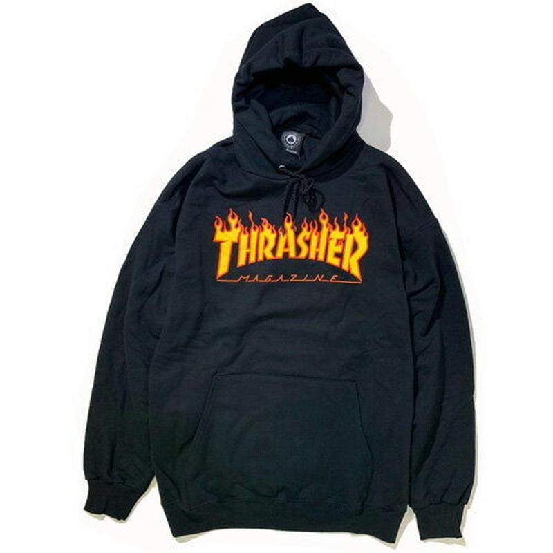 THRASHER FLAME LOGO HOOD - BLACK