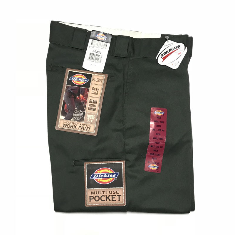 DICKIES DEAD STOCK  LOOSE FIT DOUBLE KNEE WORK PANTS  - OLIVE