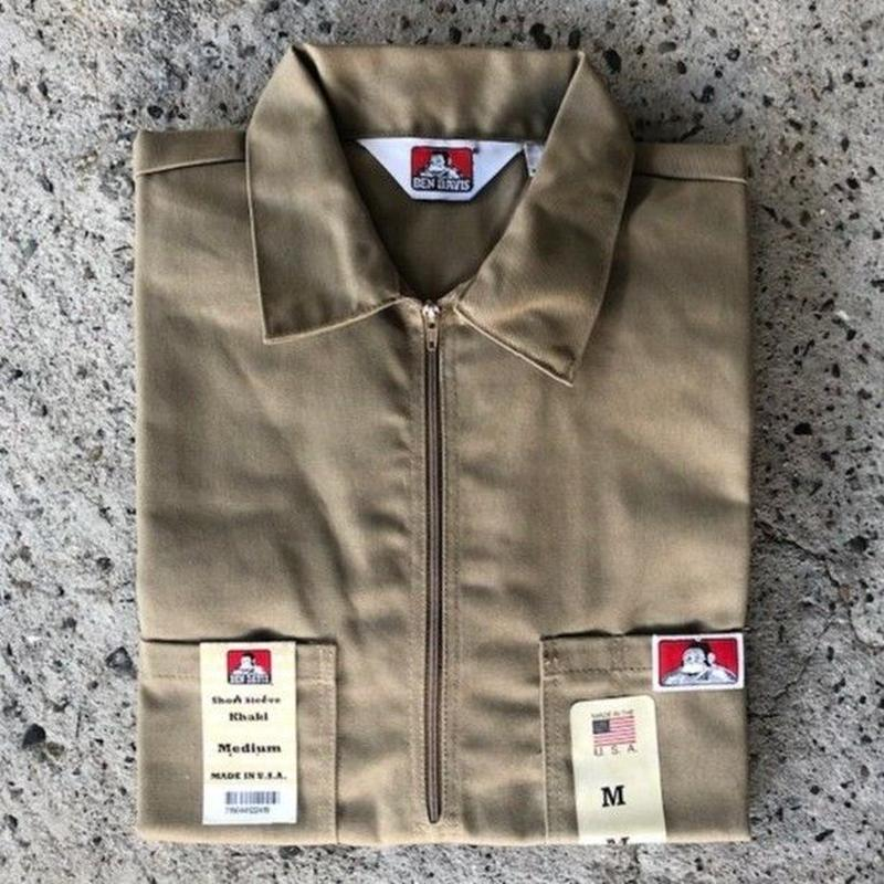 BEN DAVIS 1/2 ZIP WORK SHIRT - KHAKI