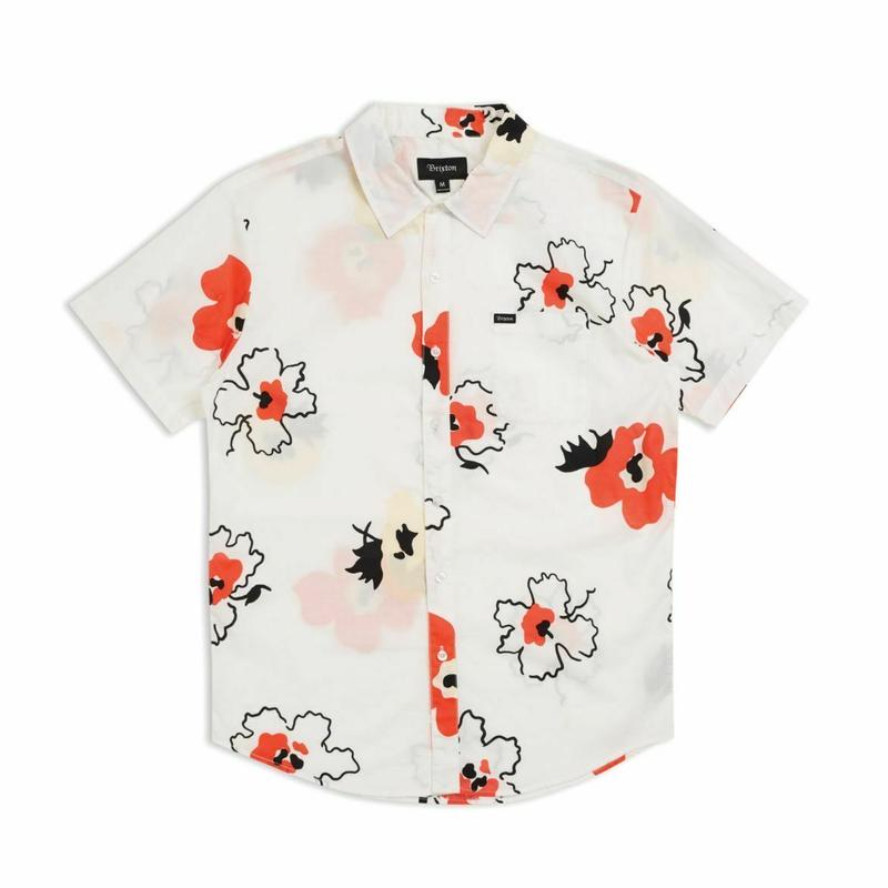 BRIXTON CHARTER PRINT S/S WOVEN - WHITE / RED