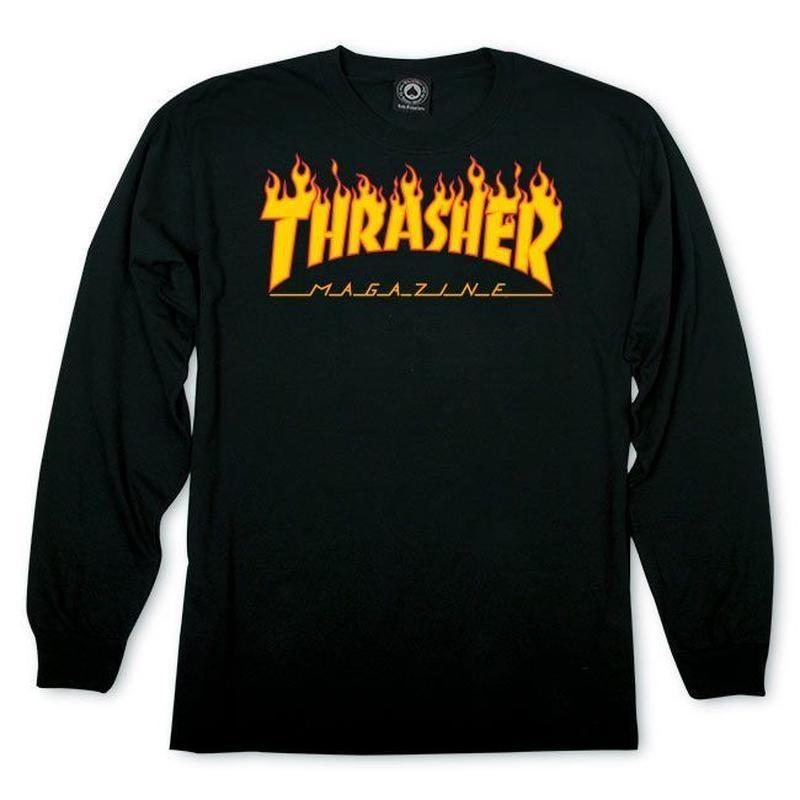 THRASHER Flame Logo Longsleeve Tee - Black